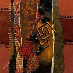 """CAROL NELSON FINE ART BLOG: Mixed Media Metal Collage,  """"Copper and Rust"""" © Carol Nelson Fine Art. Carol says """" Copper & Rust has many different collage papers, foils, burlap, leather, copper, and rocks all arranged and glued on to a wood panel.  I did it as a demo in one of my mixed media workshops."""""""