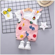e90da63131 Summer Infant Toddler Clothes Suits Baby Girls Boys Clothing Sets T Shirt  Strap Shorts Kids Children