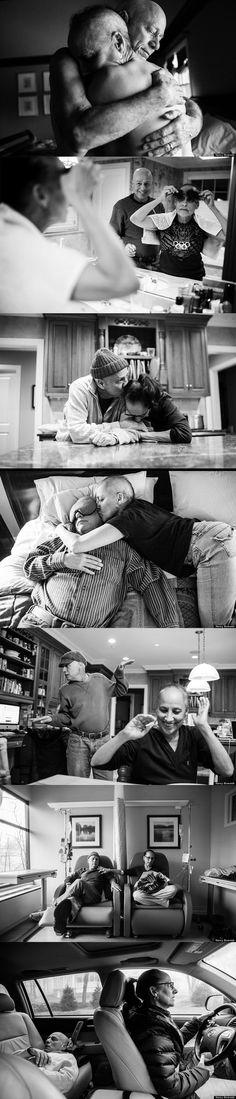 """Projeto """"Cancer Family"""" feito por Nancy Borowick que mostra uma coleção de fotos em preto e branco com Laurel, sua mãe, e Howard, seu pai. O álbum mostra os dois em momentos de grande compaixão e amor, como eles confortam uns aos outros, assim como a vulnerabilidade e dor."""