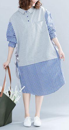 b62783e6aa7 French blue Plaid Cotton 0Fashion Tutorials stand collar tie waist cotton  Summer Dresses