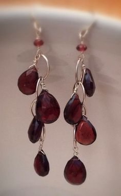 Faceted Garnet Teardrop Briolette Sterling-( These would be so cute with aged bronze and peridot )