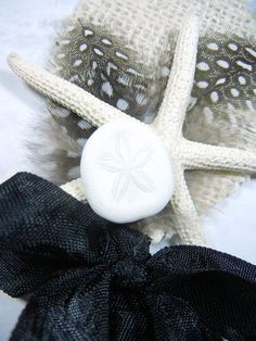 Starfish Boutonniere or Corsage  Black Tie Starfish by ShellScapes