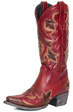 Lane Women's Stella Cowgirl Boots with Studs and Overlay - Red/Brown $390.00