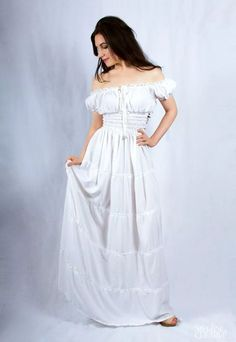 Renaissance Medieval Wench Peasant Boho Hippie Sun Dress White  | eBay