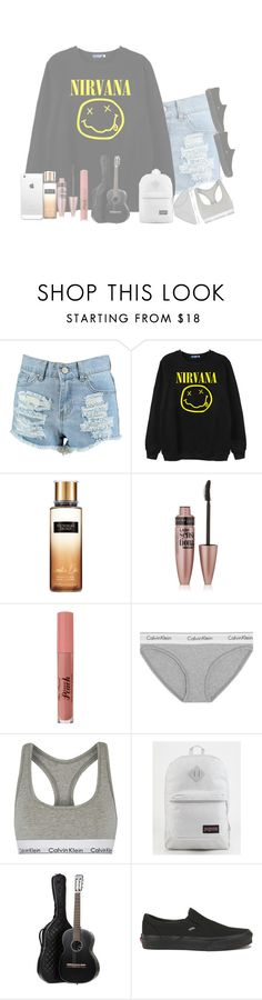 """""""// I'm so ugly, that's okay 'cause so are you \\"""" by heyitsalexiss5853 ❤ liked on Polyvore featuring Boohoo, Chicnova Fashion, Maybelline, Calvin Klein Underwear, JanSport, Chanel and Vans"""