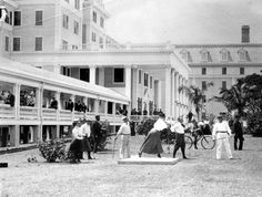 Visitors teeing off on the lawn of the Royal Palm Hotel - Miami, Florida 1900