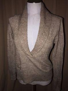 ca0cee4427 J. CREW khaki Alpaca wool marl knit shawl neck deep v sweater L  178