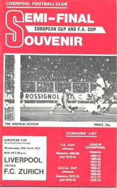 1977 Liverpool v Zurich official programme 20/04/1977 European Cup Semi-Final