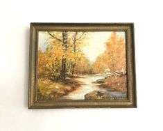 Vintage Oil Painting, Fall Forest, Original Oil on Board, Signed Landscape, Dorothy Montgomery, circa 1960s