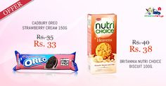 Best Offers !! Buy #Oreo #Strawberry #Cream #Biscuits & #Britannia #Nutri #Choice Biscuits Online at Kiraanastore. Buy Now!!