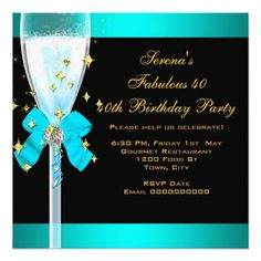 40 Fabulous Teal Blue Gold 40th Birthday Party Card 40th Birthday Parties, Birthday Party Invitations, Blue Gold, Birthday Invitations
