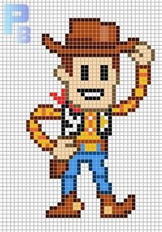 Woody Toy Story perler pattern - Patrones Beads / Plantillas para Hama by paige Perler Bead Disney, Perler Bead Art, Perler Beads, Fuse Beads, Hama Beads Patterns, Beading Patterns, Embroidery Patterns, Beaded Cross Stitch, Cross Stitch Embroidery