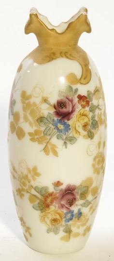 Mt Washington Glass; Colonial Ware, Vase, Flowers, 9 inch HOA