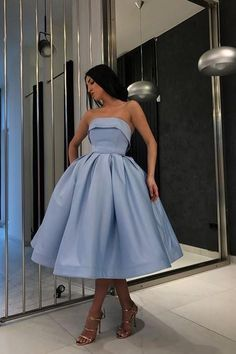 Strapless Blue Short Ball Gown Prom Wear Dresses,homecoming dresses,dresses,prom dresses ,dresses · HotProm · Online Store Powered by Storenvy Strapless Homecoming Dresses, Cute Prom Dresses, Prom Outfits, Ball Gowns Prom, Ball Dresses, Pretty Dresses, Beautiful Dresses, Evening Dresses, Prom Dresses Tea Length