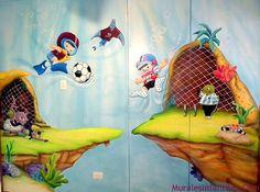 mar 41 Mural  infantil. Futbol en el fondo del mar. Caracas