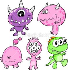 Cute Monster Set Royalty Free Stock Vector Art Illustration