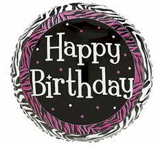 """Happy Birthday"" Zebra Pink Dots 18"" Balloon Mylar by Balloon. $5.88"