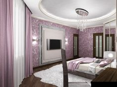 Bedroom Pink and White Color Ideas at Apartment with Unique Interior Design by D-Proekt