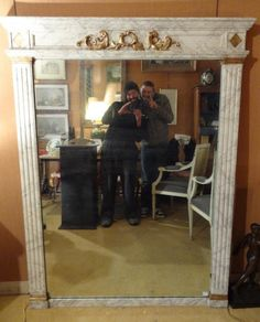 Large mirror #Empire in wood painted making #fake #marble. Gold leaf #gilding and mercury glass. 19th century. For sale on #Proantic by Lambrequin Antiquités.
