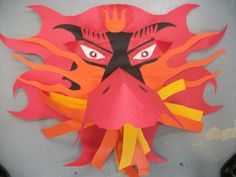 dragon mask paper sculpture