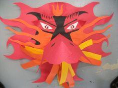dragon mask paper sculpture