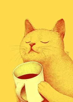 just a yellow cat sniffin' coffee...  or maybe it's a mug full of motor oil.    viewer interpretations may vary.