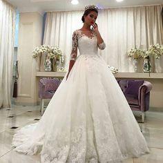 Barato 2016 Luxus elegante Aribic bola GownThree quartos vestido de noiva manga…