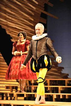 Malvolio from Twelfth Night, cross-gartered yellow stockings and fixed smile