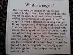 """Create a picture of a """"nogard"""" as you read this, changing your picture as you get more information.  Can you draw it when you're done reading?"""