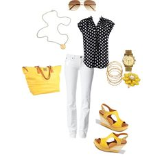White, black and yellow! Love it all but with yellow ballet flats instead.