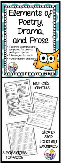 This Elements of Poetry, Drama and Prose set is filled with fun, original poems, mini-plays and pieces of prose that your students will enjoy. Lots of variety and great short pieces of literature for 3rd - 5th grades. (TpT Resource)