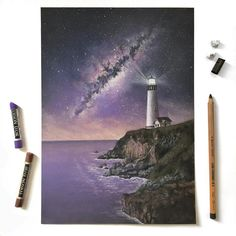 - Lighthouse Under The Milky Way - commissioned pastel drawing Check out the latest video to see how I added the stars to the night Galaxy Painting, Galaxy Art, Oil Pastel Drawings, Art Drawings, Soft Pastel Art, Soft Pastels, Pastel Paper, Graffiti, Chalk Pastels
