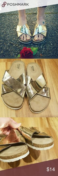 Rad, MOSSIMO, metallic sandals!! Love these. Can't find size or material. Would fit 7. Metallic gold with white soles. Mossimo Supply Co. Shoes Sandals