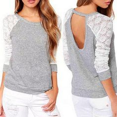 New Spring Autumn Women Backless Embroidery Lace Casual Hoodies Long Sleeve Sweatshirts Ladies