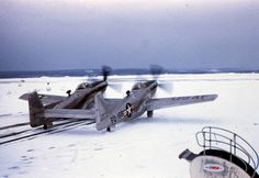 F-82 Twin Mustang taxis out in the snow.