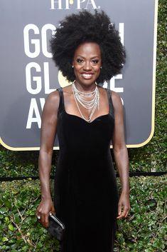 Viola Davis Natural Hair at the 2018 Golden Globes