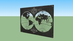 Large preview of 3D Model of World Map-Laser Cut Map Of The Globe