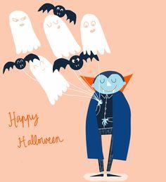 Adele Dafflon - Halloween Illustration - Card - Vampire, Bats, Ghosts.