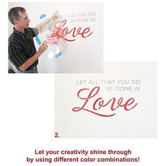 Cutting Edge Stencils - Let All That You Do Be Done In Love Stencil.  $19.95. See more wall quotes Stencils: http://www.cuttingedgestencils.com/wall-quotes-stencils-quotes-for-walls.html  #quotes #wall #painting #stenciling