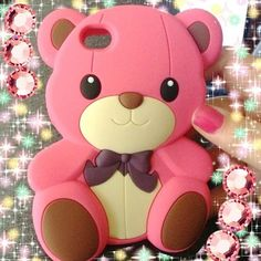 Pink Teddy Bear Girl Phone Case for iPhone 4/4S/5/5S, iPod 4 5