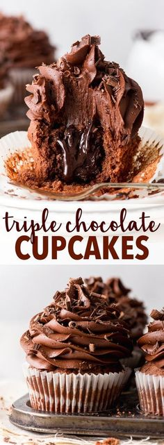 Chocolate Cupcakes (Gluten Free) - These triple chocolate cupcakes are ri., Triple Chocolate Cupcakes (Gluten Free) - These triple chocolate cupcakes are ri., Triple Chocolate Cupcakes (Gluten Free) - These triple chocolate cupcakes are ri. Easy Chocolate Ganache, Chocolate Fudge Cupcakes, Best Chocolate Desserts, Chocolate Fudge Sauce, Chocolate Frosting Recipes, Best Gluten Free Cupcake Recipe, Chocolate Cupcakes Decoration, Chocolate Buttercream Cake, Easy Chocolate Cupcake Recipe