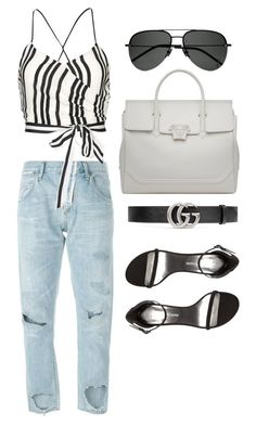 """""""Untitled #21254"""" by florencia95 ❤ liked on Polyvore featuring Citizens of Humanity, Versace, Alice + Olivia, Yves Saint Laurent, Gucci and Stuart Weitzman"""