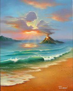 Jim Warren Art - Heaven on Earth Landscape Art, Landscape Paintings, Image Nature, Tropical Art, Magic Art, Seascape Paintings, Ocean Art, Fantastic Art, Surreal Art