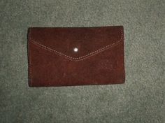 Women's Brown MADE IN BRAZIL Suede Leather Trifold Snap Close Envelope Wallet #UnbrandedMADEINBRAZIL #FashionEnvelopeLogoTrifoldSnapCloseWallet