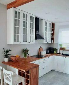35 suprising small kitchen design ideas and decor 23 - Küche Ideen Home Decor Kitchen, New Kitchen, Kitchen Dining, Kitchen Cabinets, Kitchen Small, White Cabinets, Small Kitchen Designs, Compact Kitchen, Kitchen Hacks