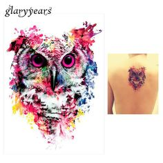 1 Sheet Colorful Temporary Tattoo owl high quality - definingYOUth