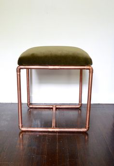 Upholstered Copper Bench- Olive Velvet