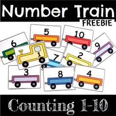 FREE: Number Trains 1-10 - Learn to count to ten with this train themed freebie!  #free #freebie #trains #transportation #kindergarten #prek #preschool #counting #numbers