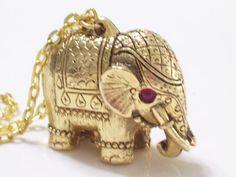 Rare Ornate Vintage Red Rhinestone Goldtone Tiny by LoveLockets