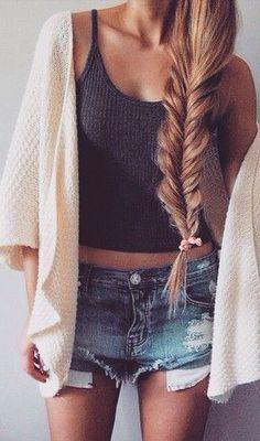 @barbphythian ||  Ootd | spring outfit Fishtail  Dark grey croptop Denim shirt  Short cardigan